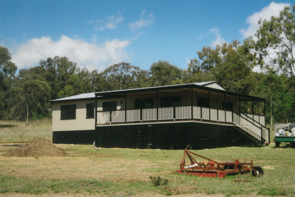 a modular home on a farm on a sloping site
